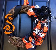 Monogram Halloween Wreath Orange and Black by CreationsbySaraJane, $55.00
