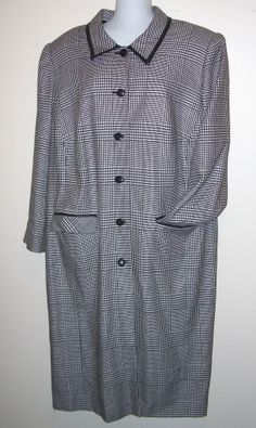 Maggy London Nina Leonard Women's Long Houndstooth Coat Wool Blend Sz 18 Vintage #MaggyLondon #Houndstooth