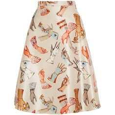 Rochas Printed duchesse-satin skirt ($1,215) ❤ liked on Polyvore featuring skirts, ivory, multi colored skirt, cream skirt, colorful skirts, pink skirt e knee length a line skirt