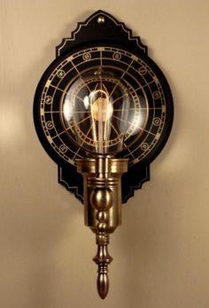 Parrish Carriage I.  Steampunk Wall Lantern. Donvan Design.  14h x 7w
