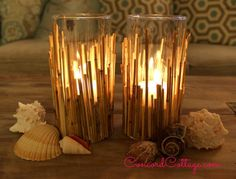 DIY Bamboo Coastal Candleholders using Reed Fencing *Try using bamboo place mats instead of fencing for a variation