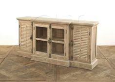#Media Cabinet TV Stand Cabinet Pine #Reclaimed Green Louvered Wash New Ships Free @asid @gop