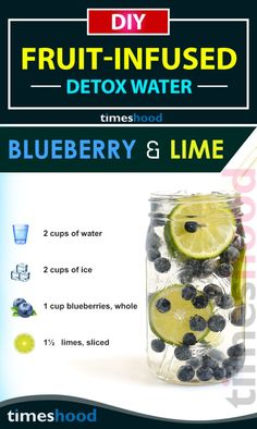 Fruits Detox Water Recipes for Weight loss and clear skin. Blueberry lime infused water for boosting metabolism. Try this tasty fruits infused detox water for glowing skin and weight loss. https://timeshood.com/fruit-infused-water-recipes/