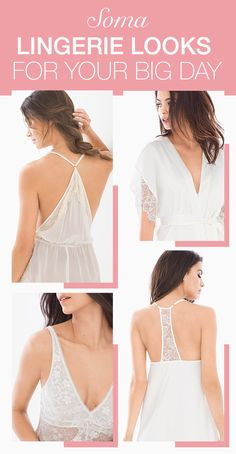 """Soma makes lingerie that's perfect for the bride-to-be. You'll say """"I DO!"""" to  a silky, soft, comfortable getting ready robe, and for later, a sweet-sexy shimmer chiffon babydoll or chemise with delicate lace embroidery and sheer mesh in wedding-worthy shades of white or ivory. Find everything for the big day (and wedding night bliss) at Soma.com."""