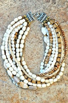 Designer Multi-Strand Bone,Shell and Pearl Necklace | XO Gallery: