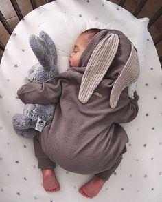 Lala Bunny Ears Hood Jumpsuit (Grey) – Greenberry Kids