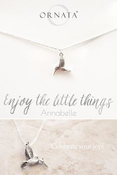 """ENJOY THE LITTLE THINGS"" HUMMINGBIRD NECKLACE ON PERSONALIZED JEWELRY CARD 