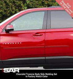 Painted Body Side Moldings are a low-cost, effective way to add exterior appeal and protection to the doors of your Chevrolet Traverse. Chevrolet Traverse, Chevrolet Colorado, Door Molding, Moldings, Clean Prep, Paint Code, Paint Matching, Thick Body