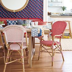 FABULOUS FRENCH BISTRO CHAIRS: pretty pattern on patern with wallpaper, textiles + furniture from @Serena &  Lily