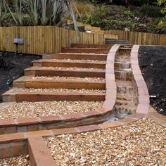 garden steps with drainage down the side