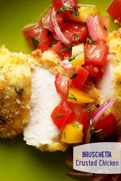 top a perfectly juicy chicken. Our Parmesan-Crusted Bruschetta Chicken ...