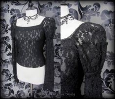 Gothic Romantic Black Lace Puff Shoulder Top S Medieval Maiden Vampire Princess | THE WILTED ROSE GARDEN