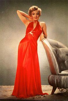 Marilyn in long red dress.