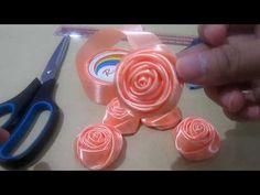 YouTube Ribbon Art, Diy Ribbon, Ribbon Rose, Paper Flowers Craft, Flower Crafts, Fabric Flowers, Flower Sketch Pencil, Flower Sketches, Diy Bow