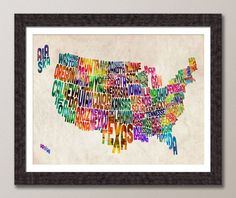 Typographic United States Map, Text Art Print 18x24 inch (888)