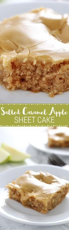 Salted Caramel Apple Sheet Cake w/Salted Caramel Glaze -- easiest & most delicious fall cake ever! -features an ultra tender, cinnamon apple cake w/thick & shiny salted caramel glaze. -perfect for serving a crowd during the holidays! Fall Desserts, Just Desserts, Delicious Desserts, Dessert Recipes, Yummy Food, Frosting Recipes, Health Desserts, Healthy Food, Healthy Recipes