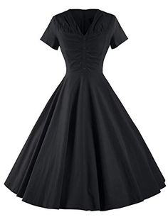 GownTown Womens Dresses Vneck Short Sleeves 1950s Vintage Dresses Swing Stretchy Dresses ** Check out this great product.(This is an Amazon affiliate link and I receive a commission for the sales)