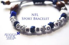 """Original Design by Rough Luck Shop  First creation is ready to ship First Class mail right from Florida!  We love the Dallas Cowboys and when we are able to show it through jewelry our love just grows for our favorite football team! Go Dallas!!!  MOTIVATIONAL - """" KEEP CALM AND GO FOR THE DALLAS COWBOYS""""   Why should you buy from us? 1. Quality Designs 2. Popular Good Luck Knots Macrame 3. Uniqueness - Original Style 4. Affordable prices 5. Complimentary gift wrapping"""
