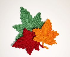 How to crochet maple leaf - HandmadebyRaine Thanksgiving Crochet, Crochet Fall, Holiday Crochet, Crochet Home, Irish Crochet, Diy Crochet, Crochet Leaf Free Pattern, Crochet Motif Patterns, Crochet Leaves
