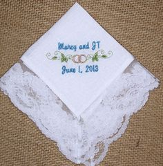 Bridal Wedding Handkerchief Embroidered and by InspiredStitches, $23.00