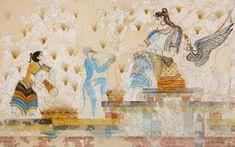 """Wall painting from Akrotiri,Thera island (Santorini),Cyclades,Greece. Ancient Egyptian Art, Ancient Aliens, Ancient Greece, Atlantis, Fresco, Potnia Theron, Bronze Age Civilization, Minoan Art, Mediterranean Art"