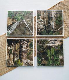 Brown Camo Coasters Camouflage Coaster Set Hunter Gift
