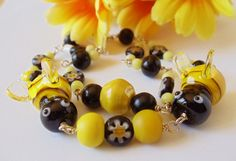 Lampwork Bumble Bees and Millefiori Glass Bracelet by simplysuzie2, $30.00