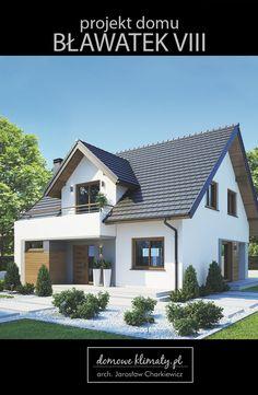 Projekt małego domu o powierzchni ok. 120 m2. Charakteryzuje się prostą, nowoczesną architekturą i bardzo funkcjonalnym wnętrzem. Izolacja cieplna i wentylacja z odzyskiem ciepła zapewniają niskie zużycie energii, a dość duża kotłownia umożliwia wybór różnych nośników energii. W tym projekcie postawiono na zapewnienie czteroosobowej rodzinie jak największej wygody i przestronnych wnętrz. Dom posiada bardzo duży salon, wydzieloną jadalnię i obszerną kuchnię ze spiżarnią. Self Build Houses, Bungalow Renovation, Modern Contemporary Homes, House Extensions, Home Projects, Future House, Planer, Building A House, Architecture Design