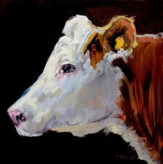 White On Brown Cow Print by Diane Whitehead.  All prints are professionally printed, packaged, and shipped within 3 - 4 business days. Choose from multiple sizes and hundreds of frame and mat options.