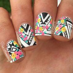 Tribal nail art + floral details