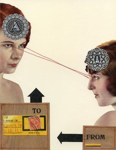 Telepathy, 2011.  Collage with thread by Angelica Paez.