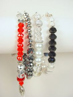 Bracelets with Crystal, Glass Pearls, Metal and More by DeerwomanDesigns, $25.00 each