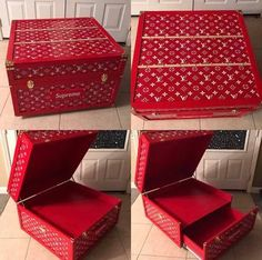 Woodworking School Giant Louis Vuitton Supreme Shoe Storage Box – Giant Shoe Boxes - Louis Vuitton x Supreme Shoe Storage Box Red with White Logos Furniture Grade Plywood, Furniture Logo, Giant Shoe Box, Sneaker Storage, Shoe Box Storage, Supreme Shoes, Sneakers Box, Woodworking School, Craft Box