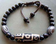 Tibetan Agate 9 Eye Dzi Bead Beads Bracelet T0955 by 8giftshop, $3.90