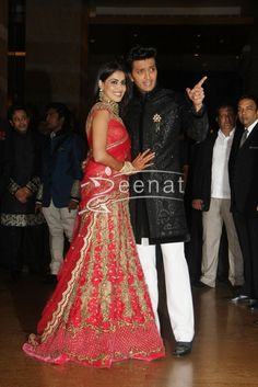 Ritesh Deshmukh with Genelia at their Wedding Reception at Hotel Grand Hyatt in Mumbai