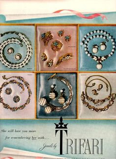 1954 Trifari jewelry ad