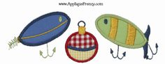 Fishing Lure Trio Applique Design-fishing, boy, lure, fishing lures, jigs