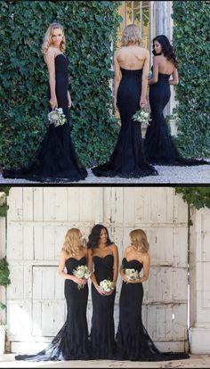 black lace long bridesmaid dress, 2017 long bridesmaid dress, strapless mermaid long bridesmaid dress, wedding party dress