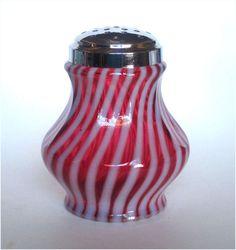 Fenton Glass Cranberry Opalescent Swirl Sugar Shaker