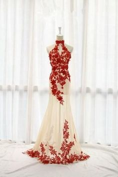 Fashion Champagne Prom Dress,Tulle Formal Gown,Red Prom Dresses,Lace Evening Gowns PM850 #luxurydress