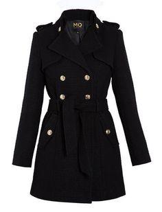 Manteau long style officier femme