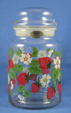 Wild Strawberry Strawberries Glass Goodies Jar with Green Leaves White Flowers