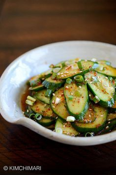 Korean cucumber salad or Oi Muchim in less than 5 minutes. Easy, simple last minute side dish to any Korean meal. No oil so it's extra refreshing.