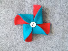 DoubleSided Felt Pinwheel Clip or Headband  Red and by jolliebabie, $9.00