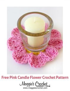 Pink Candle Flower Free Crochet Pattern from Maggie's Crochet. ༺✿ƬⱤღ✿༻