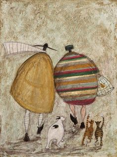 Sam Toft -- GOING HOME  WITH JOYCE GREENFIELDS AND  THE WISEY CATS   I'm guessing they'll be having toasted fish finger sandwiches for tea.