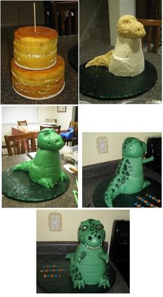 standing dino cake how to...if a change the color to purple I'll have ....Barney!!!!!!