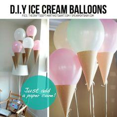 IJsballonnen! Ballon en met karton het hoorntje maken