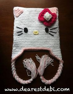 Hello Kitty Inspired Hat **Free** Crochet Pattern by DearestDebi.