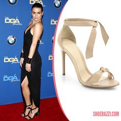 Lea Michele in Alexandre Birman Black Suede Ankle-Tie Sandals Love Her! And Love Her Shoes!